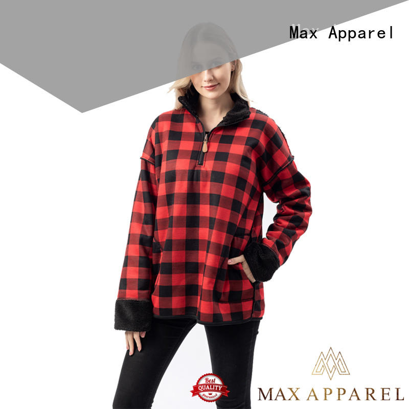 Max Apparel womens fleece quarter zip pullover free design for shopping