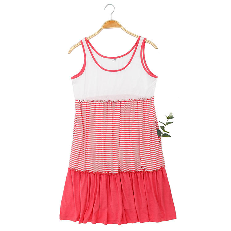 Hot Selling Round Neck Colorblock Stripe  Women Casual Dress MXDSS691