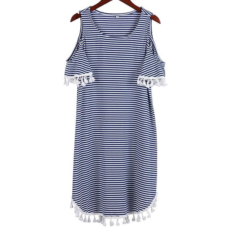 Off-shoulder Stripe Patttern Women Dress With Tassel  MXDSS687