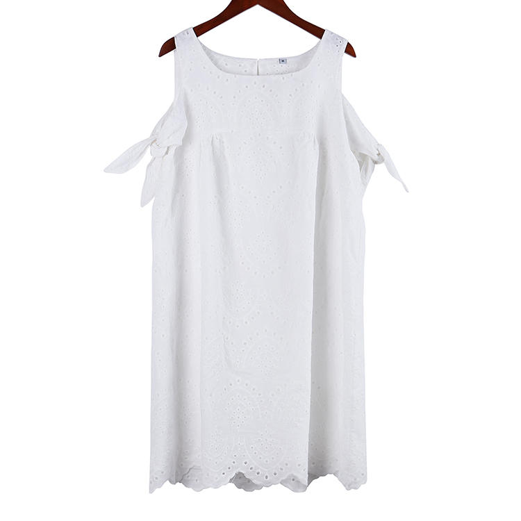 High Quality Short Sleeves U Neck Women Lace Dress MXDSS688