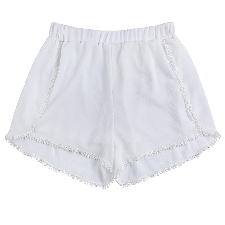 MXDSS690 FACTORY Wholesale Lightweight Fabric Women Shorts With Little Pom Pom