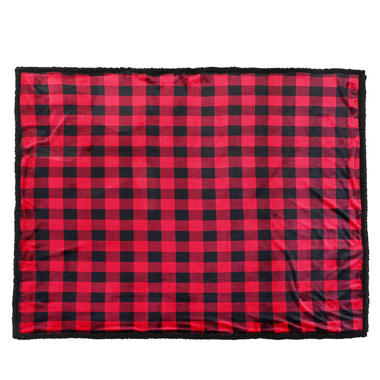 MXDBL002 Double Faced Woolen Houndstooth Sherpa Fleece Blankets