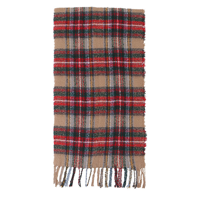 MXDSS569 Winter Vintage Plaid Scarf With Tassels