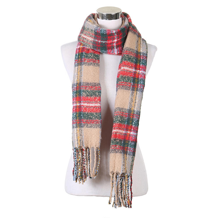 MXDSS565 Winter Vintage Long Plaid Scarf With Tassels