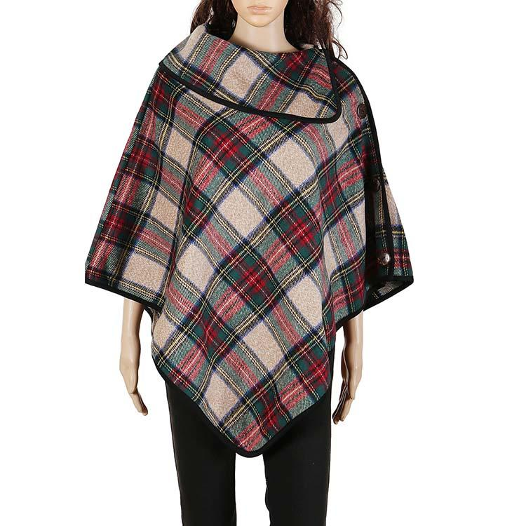 Fashionable Buffalo Check Plaid Poncho With Cocount Buttons-MXDSS429
