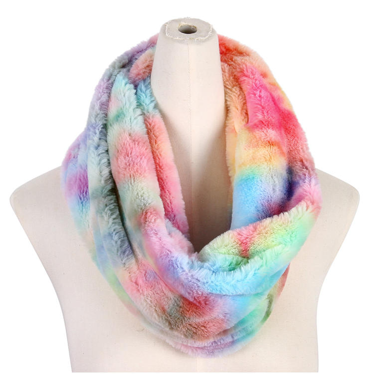 New Fashion Women's Warm Winter Soft Fur Tie Dye Infinity Scarf MXDSS574