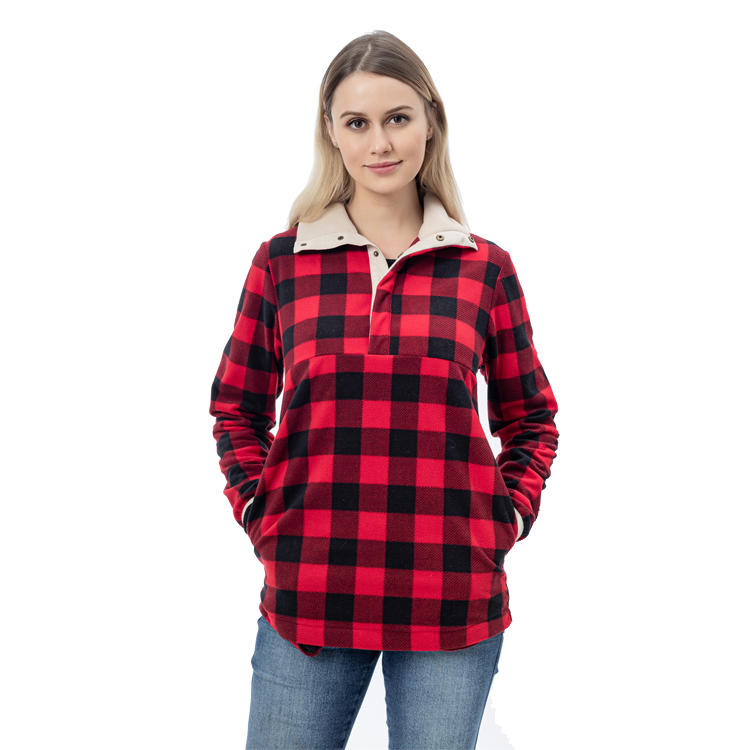Red And Black Cozy Buffalo Plaid Sherpa Fleece Pullover MXDSS771