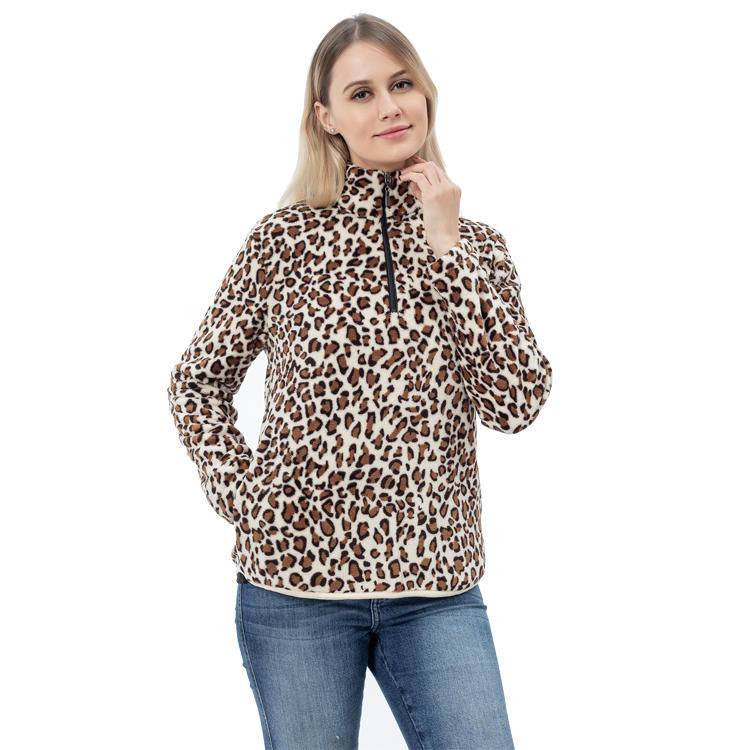 Yiwu Factory New Arrival Leopard Women Sherpa Fleece Pullover MXDSS757
