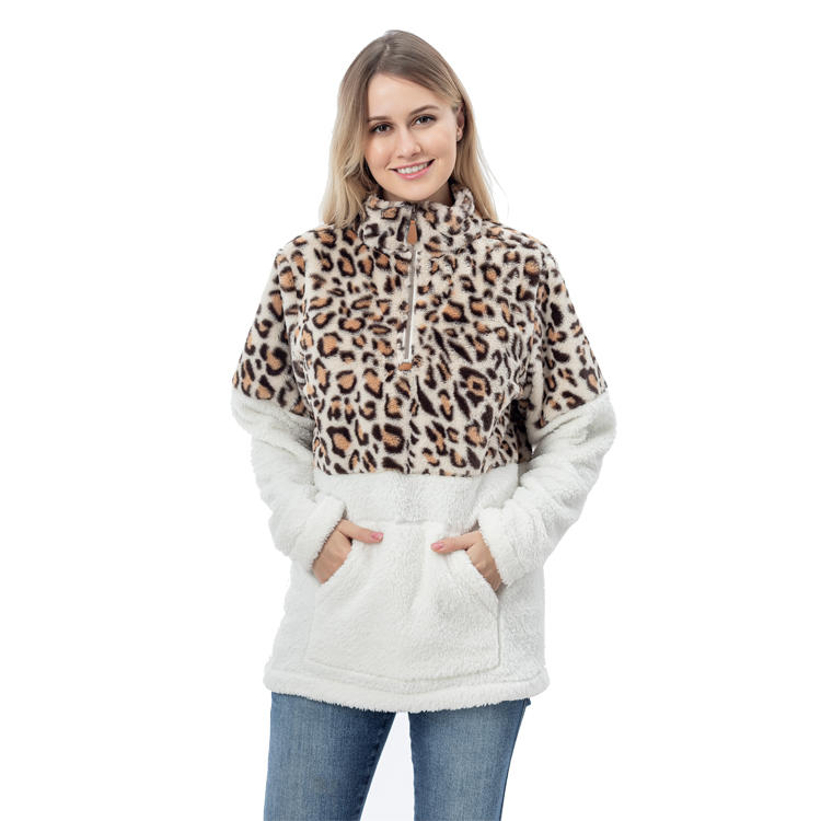Yiwu Factory New Arrival Faux Fur Color Block Sherpa Pullover MXDSS756