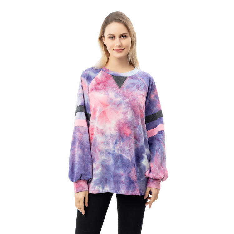 Factory New Arrival Women Long Sleeve Tie Dye Tops MXDSS789