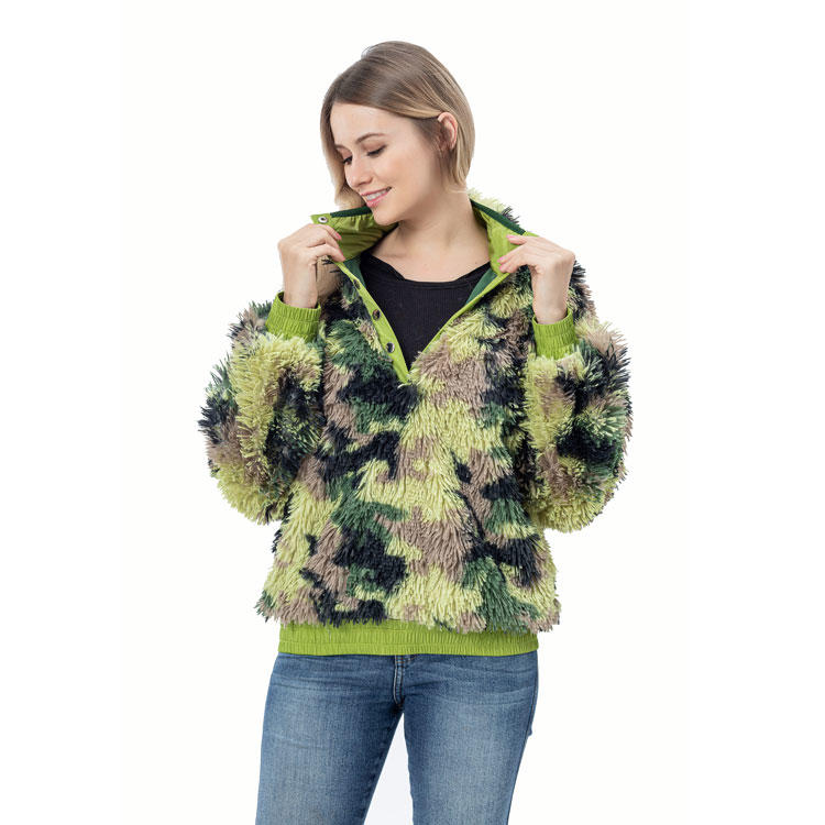 Yiwu Wholesale Fashion Shaggy Faux Fur Women Snap Pullover MXDSS761