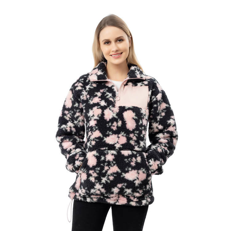 2020 New Arrivals Flowers Sherpa Fleece Pullover With Monogrammed Patch MXDSS793