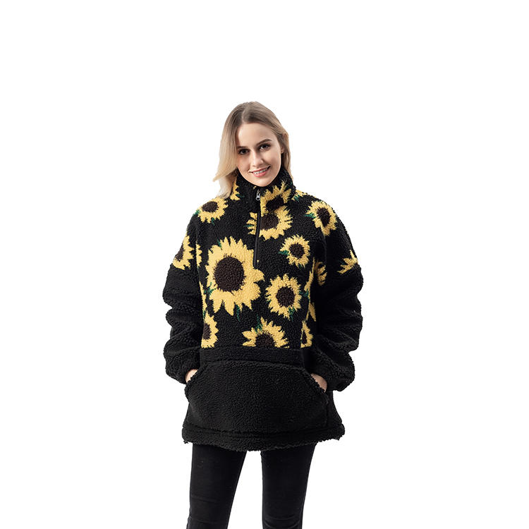 Wholesales Oversized Half Zipper Stitched Skull Sunflower Sherpa Fleece Pullover MXDSS746