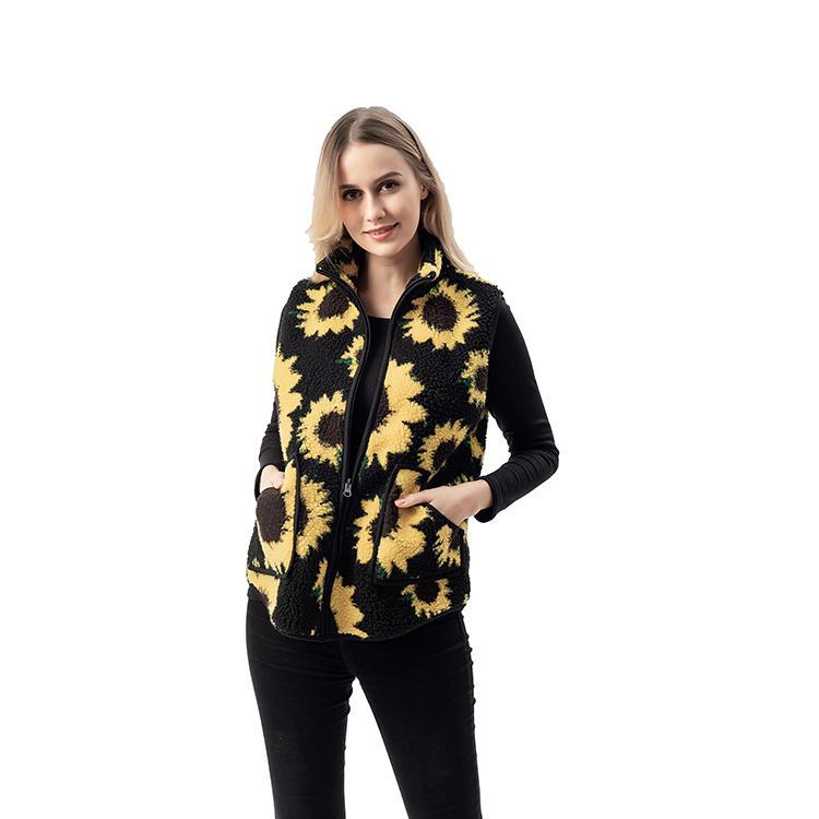 2020 Winter New Arrival Sunflower Pattern Women Sherpa Fleece Vest MXDSS745