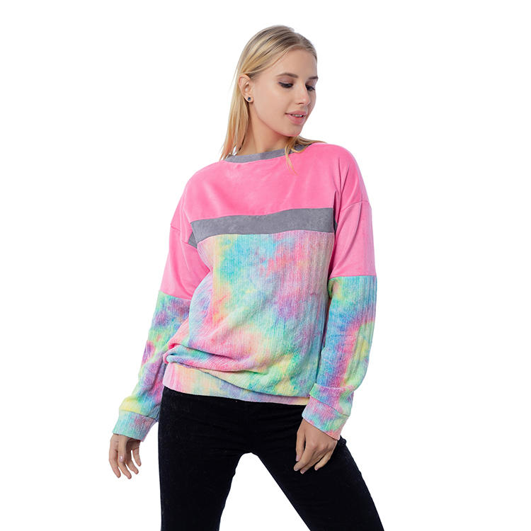 2020 New Arrival Women Long Sleeve Tie Dye Tops MXDSS816