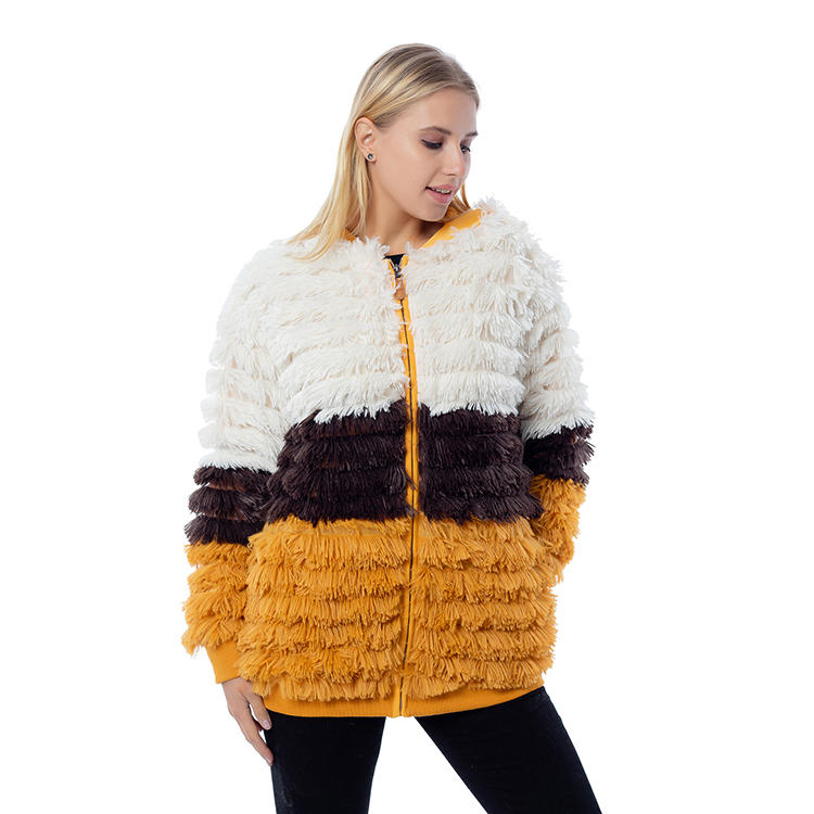 Yiwu Wholesale Fashion Shaggy Faux Fur Women Color Block Jacket MXDSS812