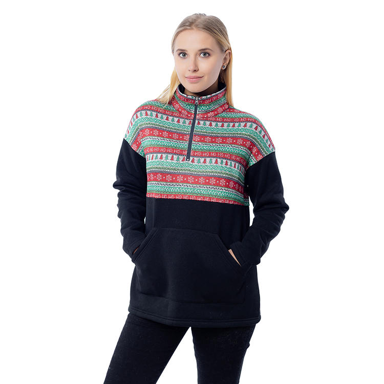 2020 New Arrival Snowflake Printing Color Block Women Pullover MXDSS804