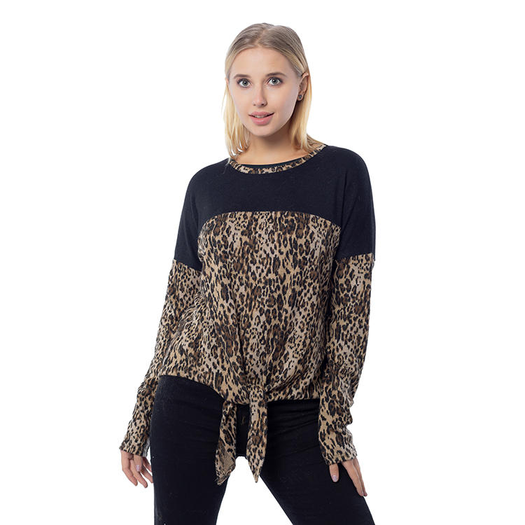 2020 New Arrival Leopard Printing Women Color Block Tops MXDSS811