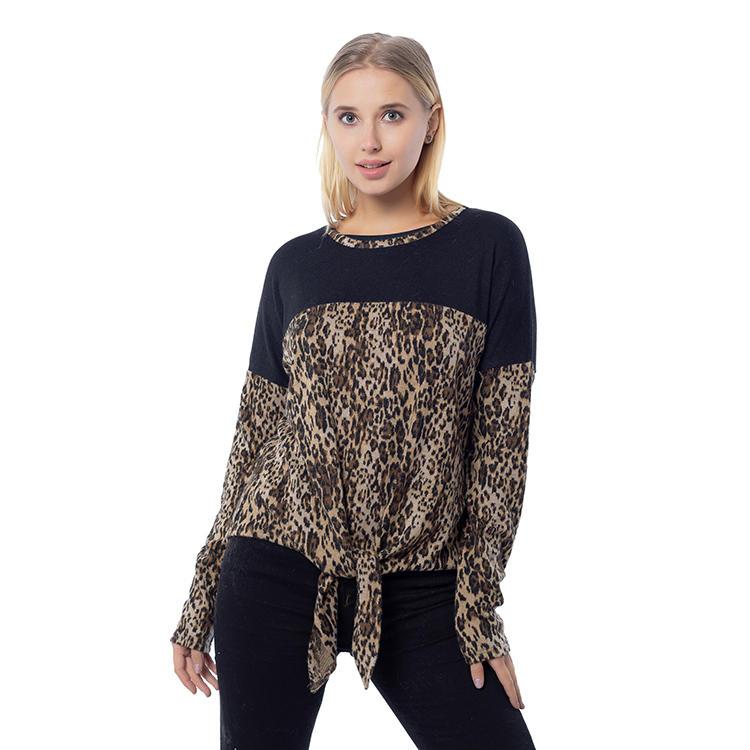 2020 New Arrival Leopard Printing Women Color Block Tops MXDSS811