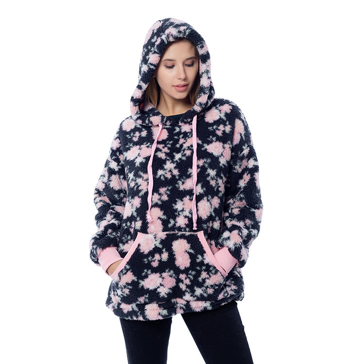 2020 Winter Women Printed Sherpa Fleece Hoodie Pullover MXDSS808