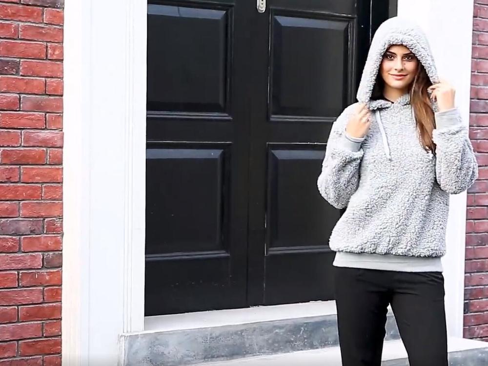 Sherpa Pullover With Hoodie