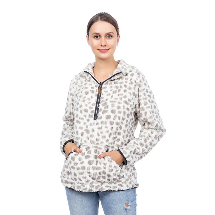 2020 Wholesaler Leopard Braided Fleece Pullover With Hoodie MXDSS836