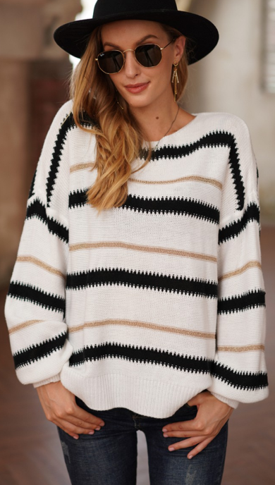 LONG SLEEVE WIDE ROUND NECK TRENDY STRIPE SWEATER