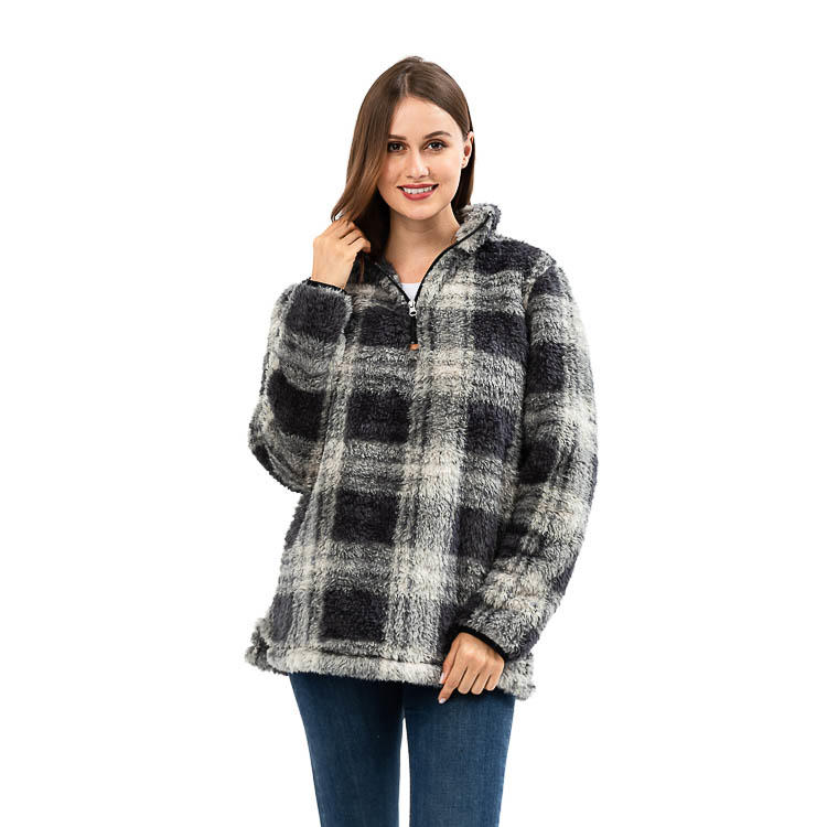 Ready To Ship Gray Buffalo Plaid Sherpa Fleece Pullover MXDSS907