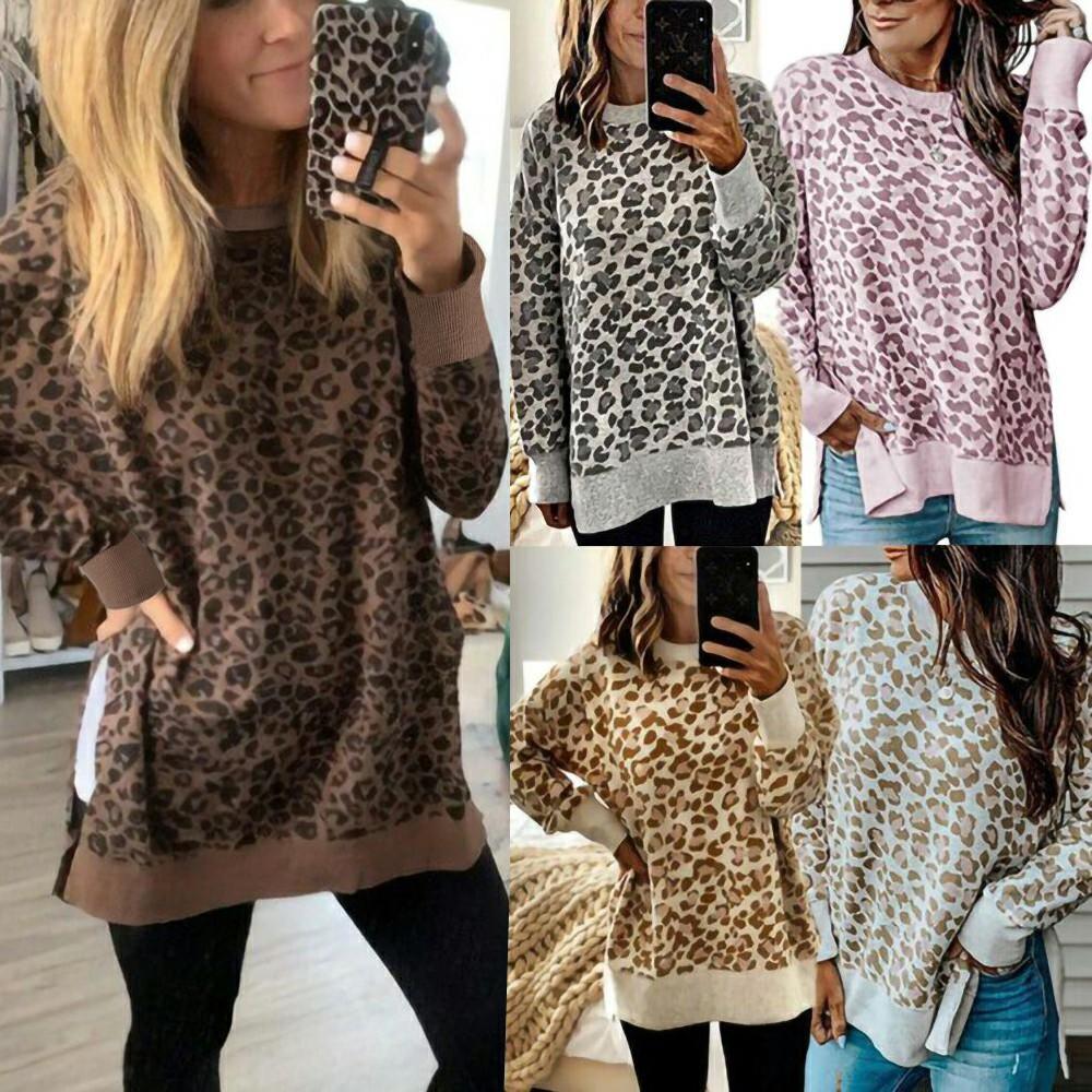 Side Slit Leopard Pullover