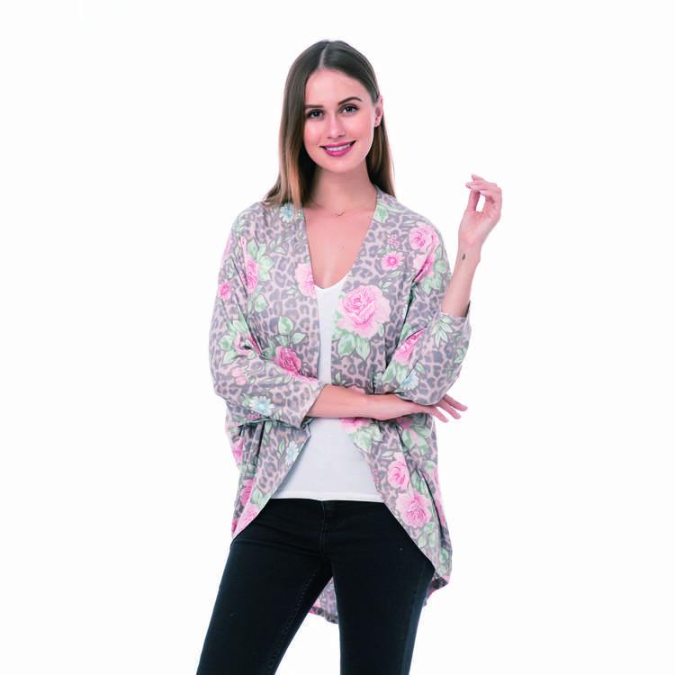 Women Fashion Leopard Floral Cardigan